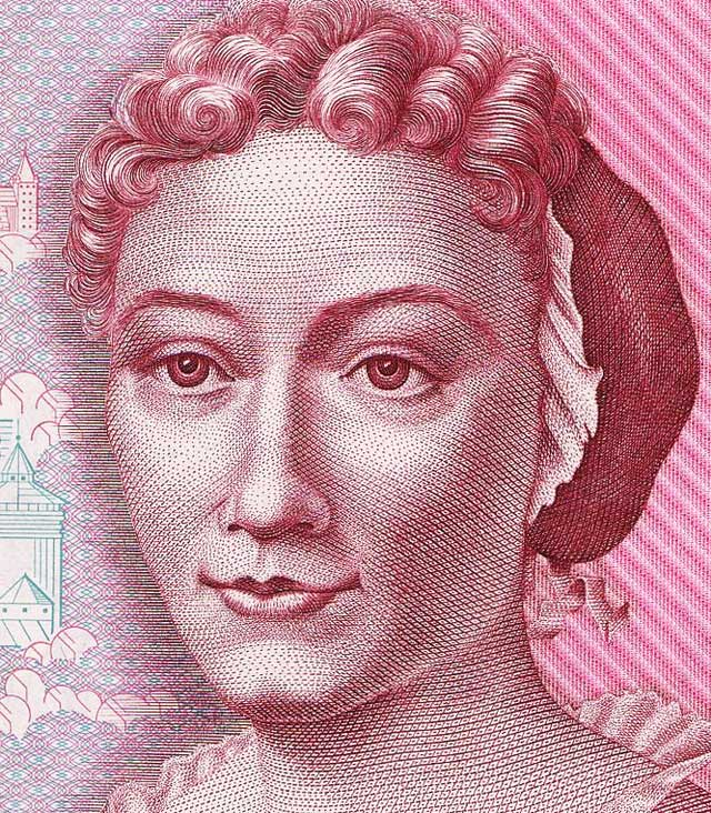 Maria Sibylla Merian portrait 500 marks