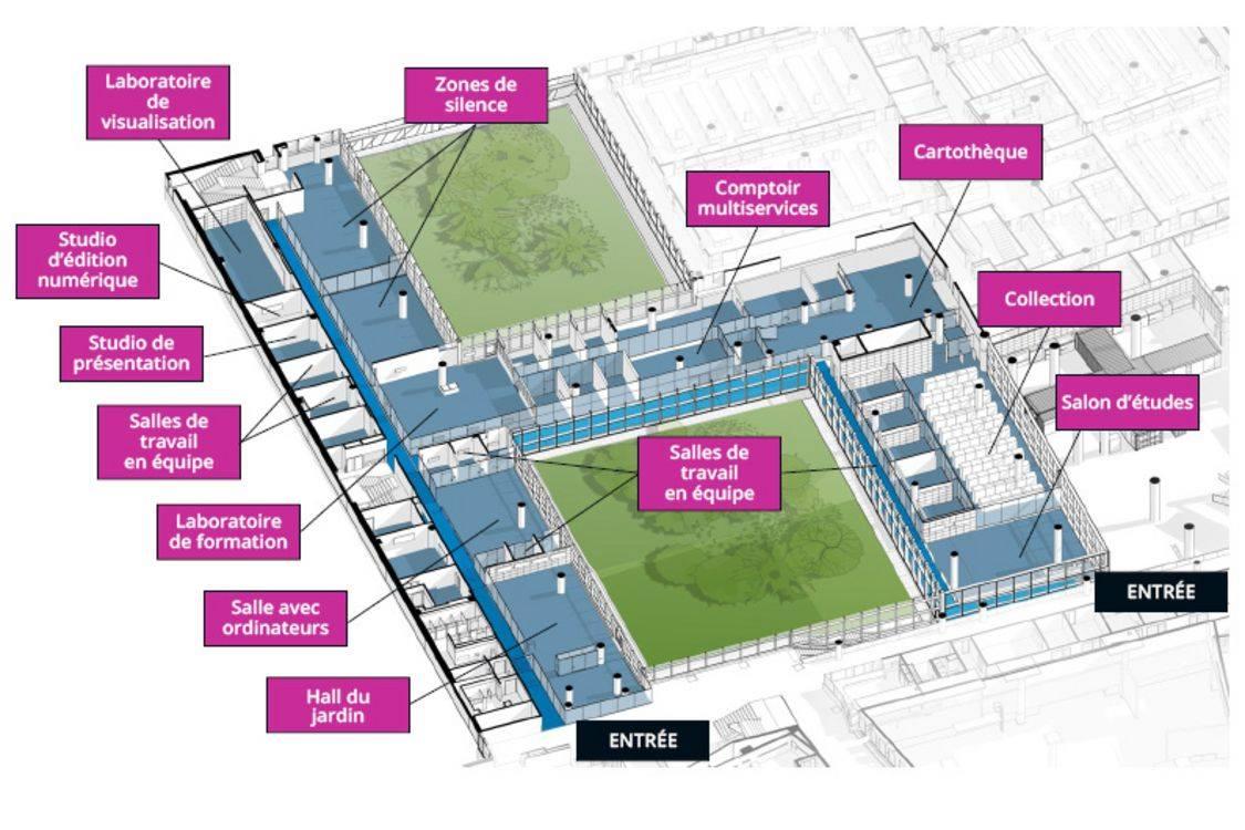 Plan de la Bibliothèque. Image : Bibliothèque des sciences du Campus MIL