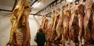 Viande de boeuf dans un abattoir