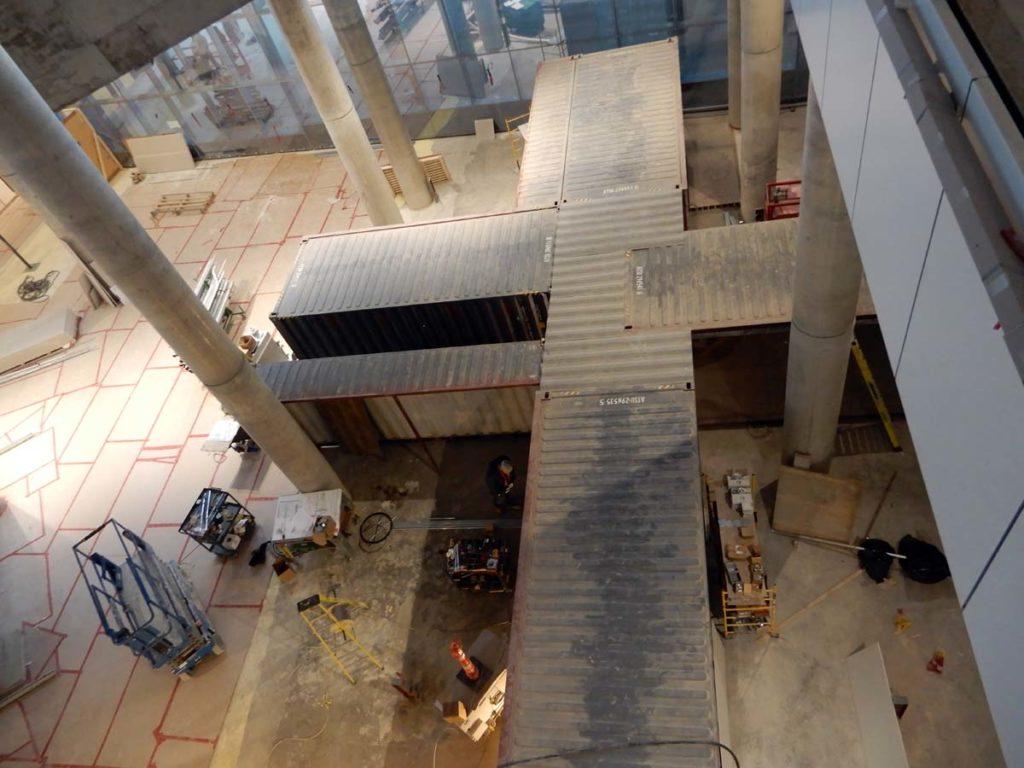 Les 4 cafés-étudiants, vus de haut, et encore en construction. Le Vivarium sera au coin droite inferieur. Photo : Elvis Branchini