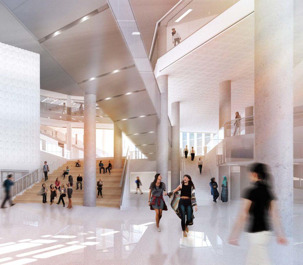 Vue de l'atrium à partir des cafés. Illustration : Menkès Shooner Dagenais Letourneux | Lemay | NFOE.